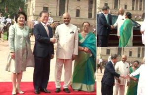 South Korean President Moon received by Modi, Kovind at Rashtrapati Bhavan